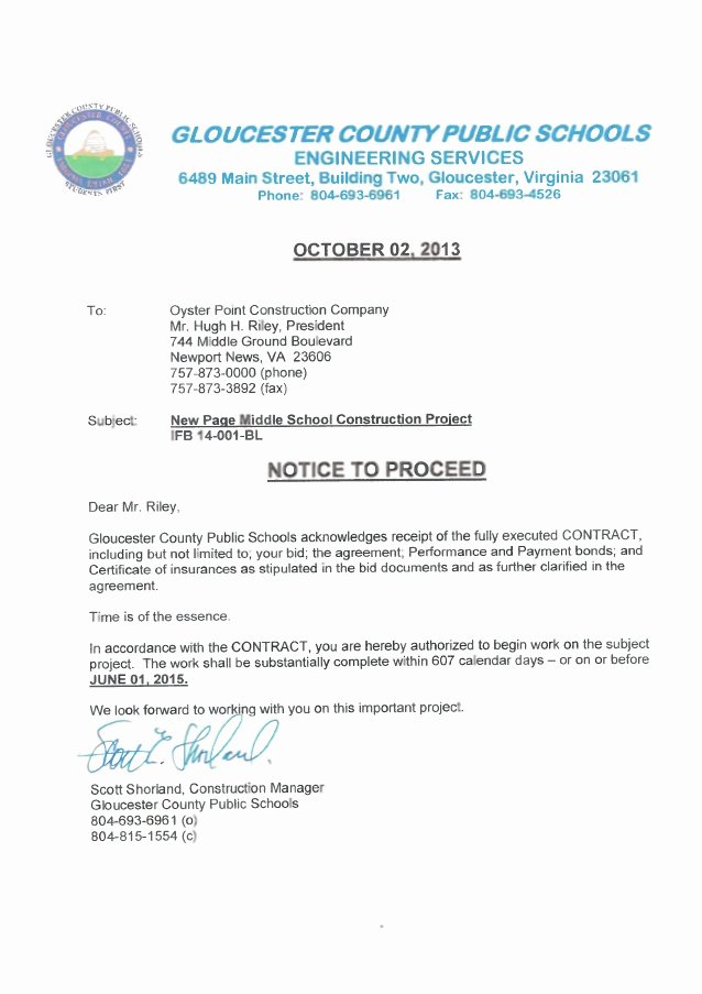 Notice to Proceed Construction Inspirational Page Notice to Proceed Letter Of Intent
