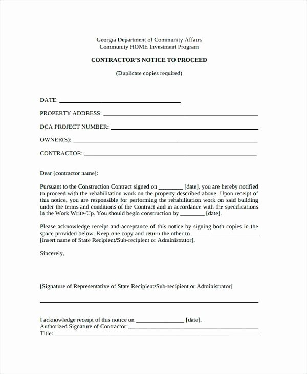 Notice to Proceed form Best Of Notice to Proceed Construction Template – Meetstan