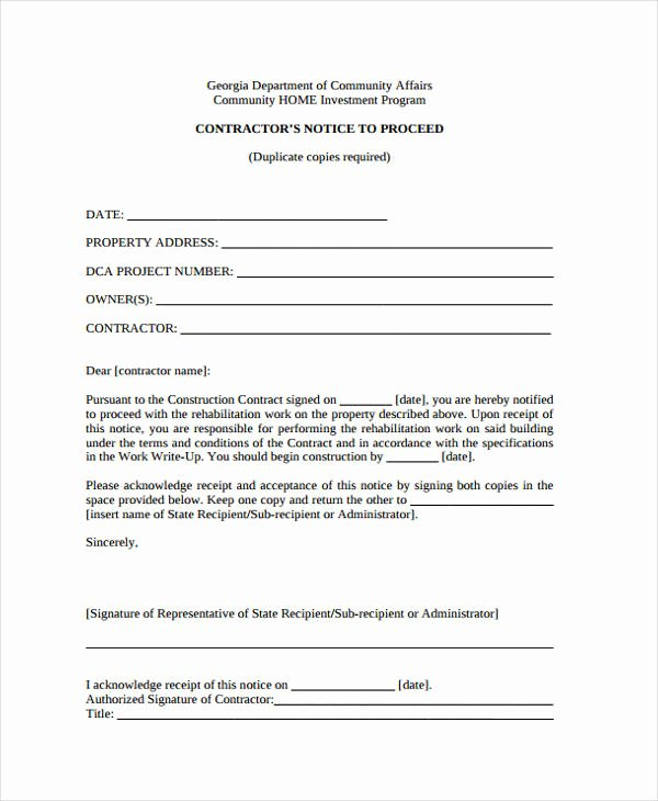 Notice to Proceed form Inspirational 9 Notice to Proceed Templates Free Sample Example format Download