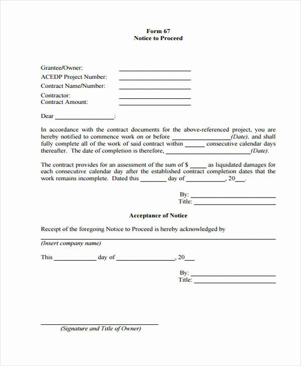 Notice to Proceed form Lovely Free 32 Sample Notice forms In Pdf