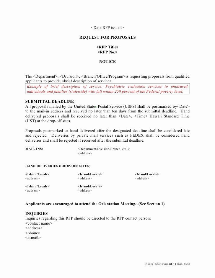 Notice to Proceed form Lovely Short form Rfp Template 1 Rev 4 06