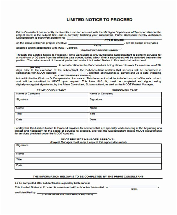 Notice to Proceed form New Free 32 Sample Notice forms In Pdf