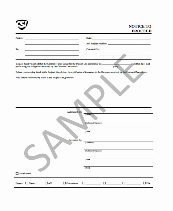 Notice to Proceed form Unique Notice to Proceed Templates 8 Free Word Pdf format Download