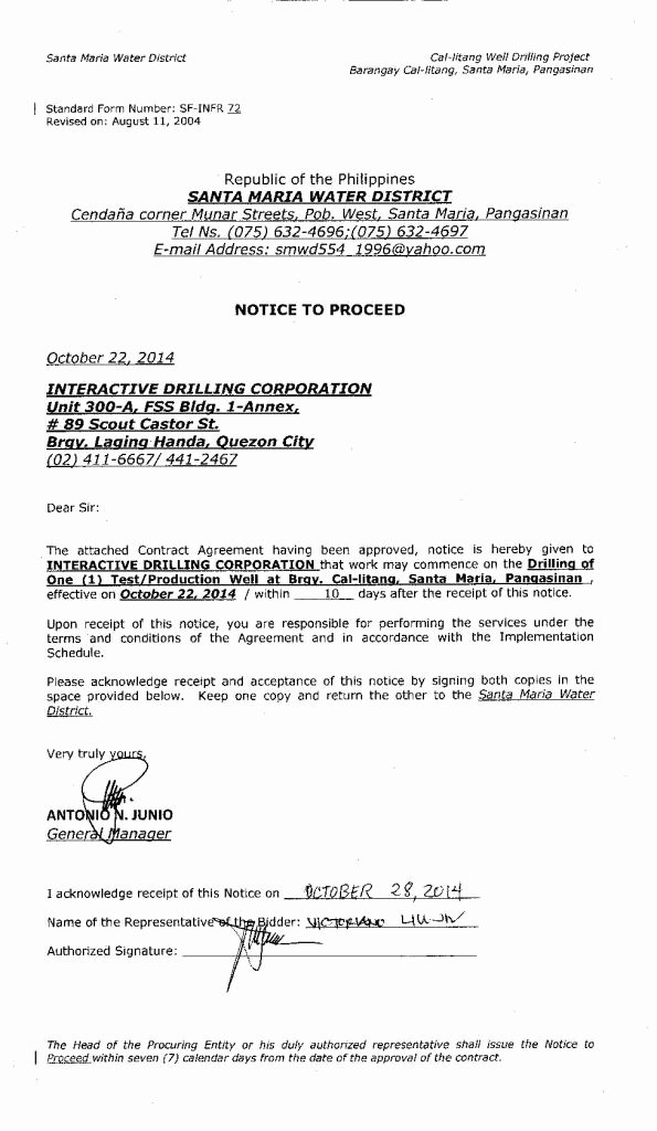 Notice to Proceed Letter Lovely Cal Litang Well Drilling Project Notice Of Award – Sta Maria Water District – Pangasinan