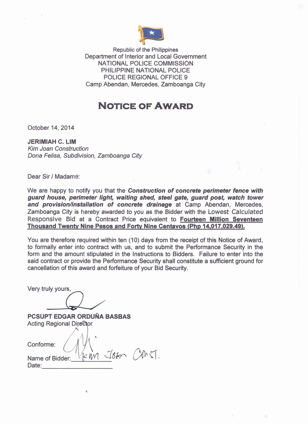 Notice to Proceed Letter Luxury Notice Of Award Notice to Proceed and Contract Of Pro9 Perimeter Fence Construction