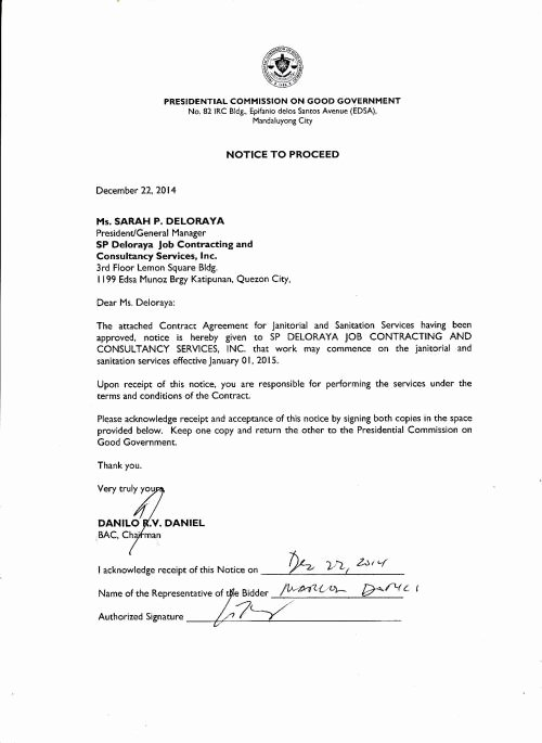 Notice to Proceed Letter Luxury Notice to Proceed with Approved Contract – Janitorial