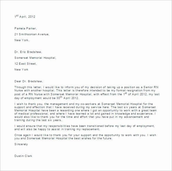 Nurses Letter Of Resignation Best Of 11 Sample Nursing Resignation Letter Templates Pdf Doc