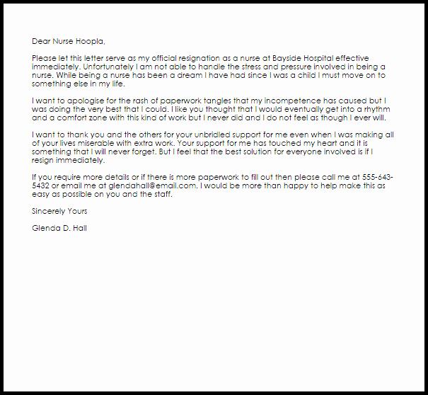 Nurses Letter Of Resignation Elegant Nurse Resignation Letter Example