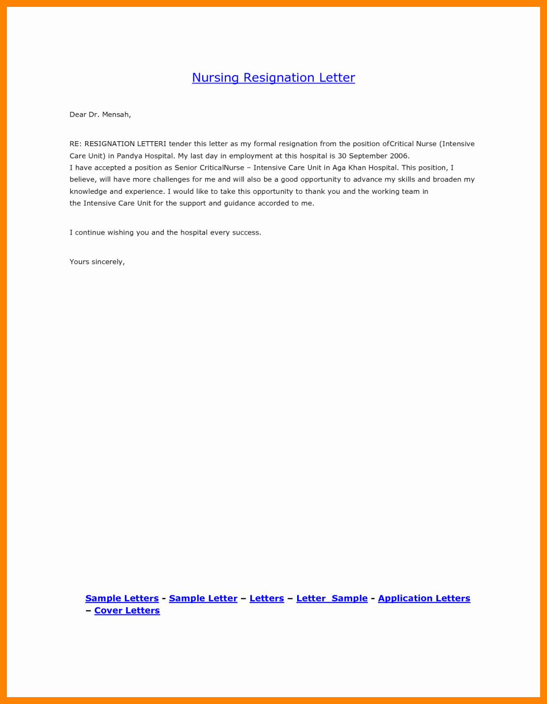 Nurses Letter Of Resignation Fresh 8 Registered Nurse Resignation Letter Sample