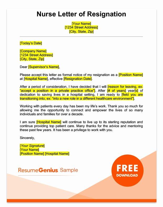 Nurses Letter Of Resignation Fresh Career Specific Resignation Letters