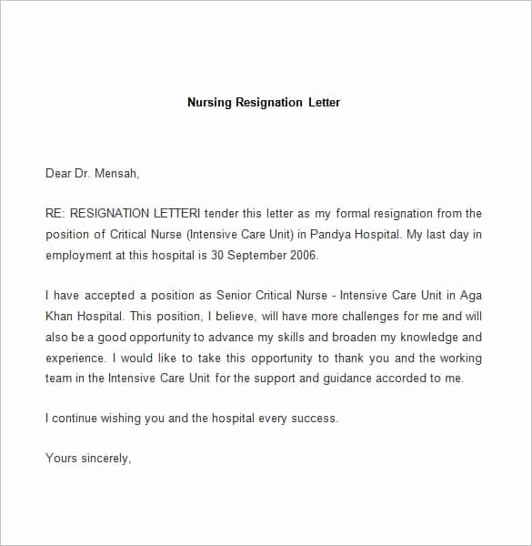 Nurses Letter Of Resignation Luxury 69 Resignation Letter Template Word Pdf Ipages