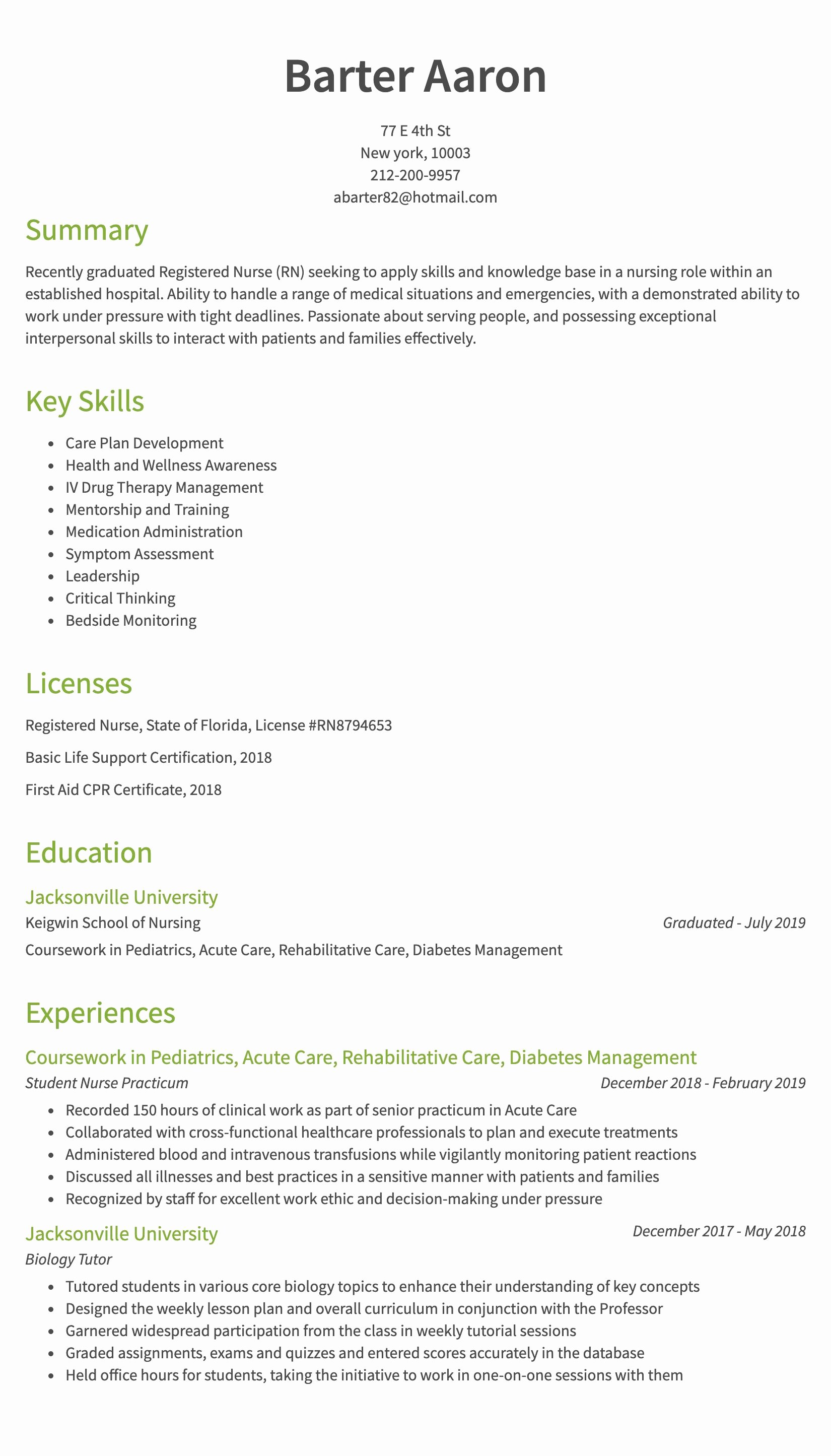 Nursing Clinical Experience Resume Unique 30 Nursing Resume Examples & Samples Written by Rn Managers