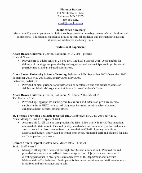 Nursing Clinical Experience Resume Unique Nursing Student Resume Example 10 Free Word Pdf Documents Download