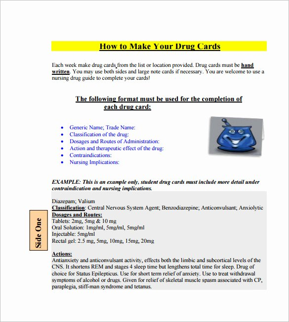 Nursing Drug Card Template Awesome 4 Medication Card Templates Doc Pdf