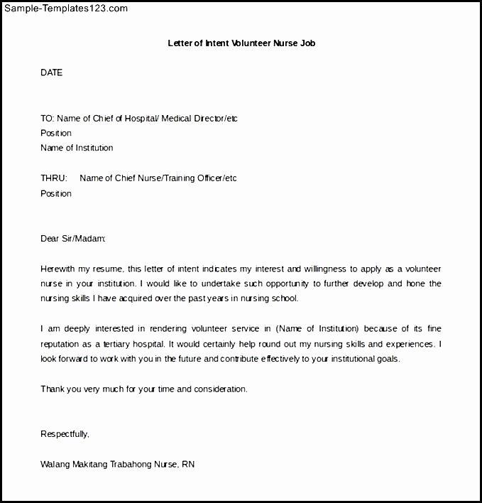Nursing Letter Of Intent Inspirational Download Letter Of Intent Volunteer Nurse Job Free Editable Doc Sample Templates Sample
