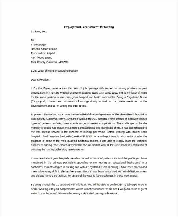 Nursing Letter Of Intent Inspirational Letter Intent for Employment