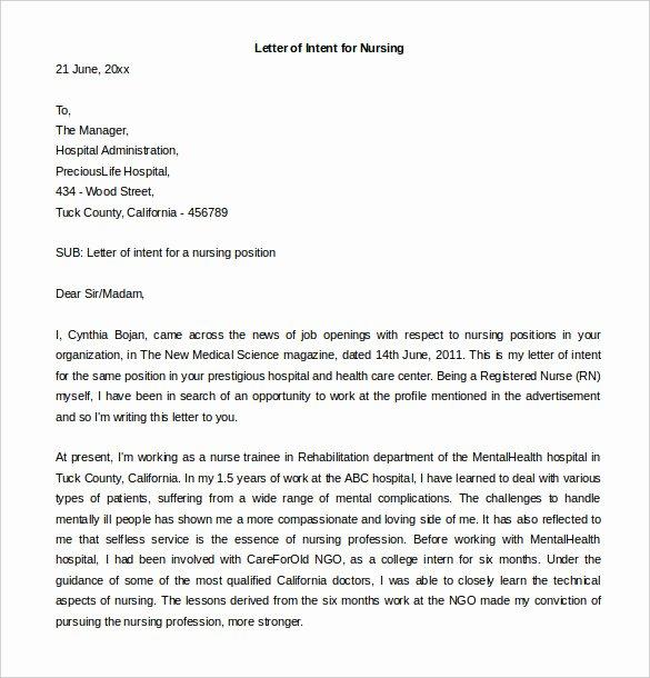 Nursing Letter Of Intent Unique Letter Intent for A Job 13 Free Word Pdf Documents Download