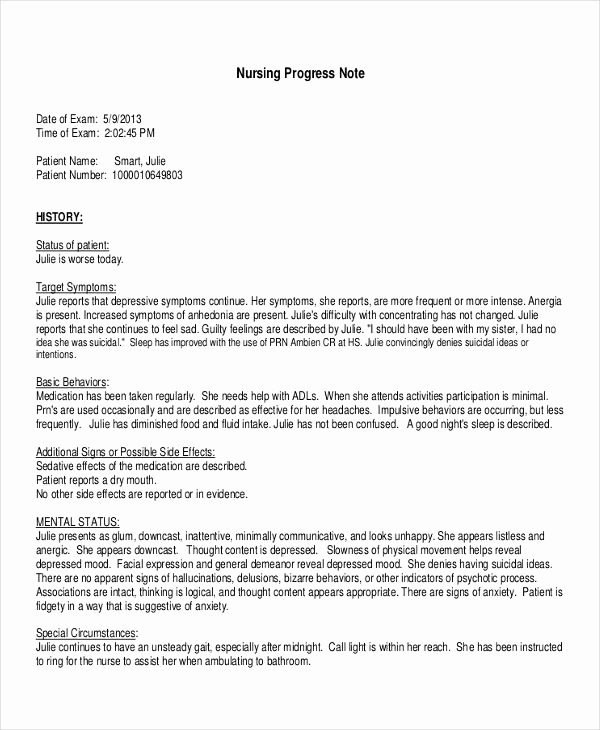 Nursing Progress Note Sample Inspirational Free 18 Progress Note Examples & Samples In Pdf Doc