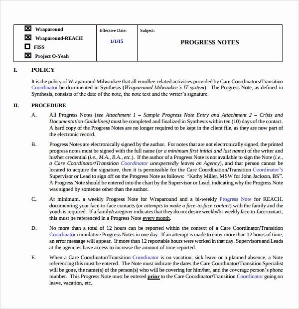 Nursing Progress Note Sample New Sample Progress Note Template 9 Free Documents Download In Pdf Word