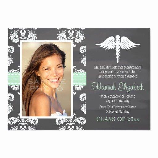"Nursing School Graduation Invitations Beautiful Mint Green Chalkboard Nursing School Graduation 5"" X 7"" Invitation Card"