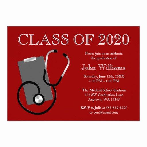 Nursing School Graduation Invitations Best Of Medical Nursing School Red Graduation Card