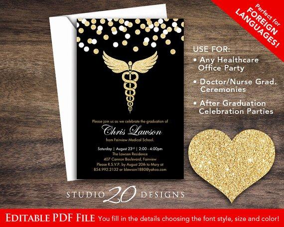 Nursing School Graduation Invitations Inspirational Instant Download Black Gold Glitter Nursing Graduation
