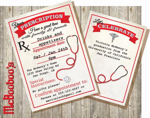 Nursing School Graduation Invitations Inspirational Medical School or Nursing School Graduation Prescription