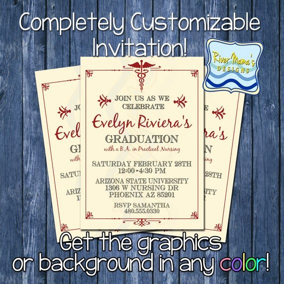 Nursing School Graduation Invitations Lovely Items Similar to Printable formal Nursing Graduation Invitation Medical College Graduation
