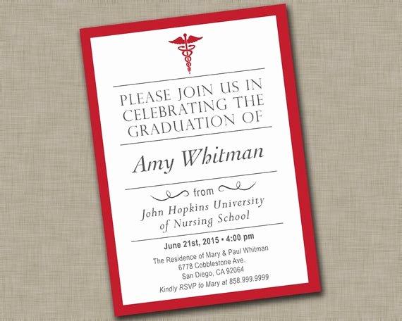 Nursing School Graduation Invitations Lovely Nursing School Graduation Invitation Medical Graduation