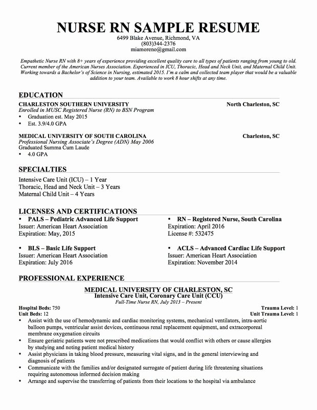 Nursing Student Resume Examples Awesome Experienced Nursing Resume … Nursing