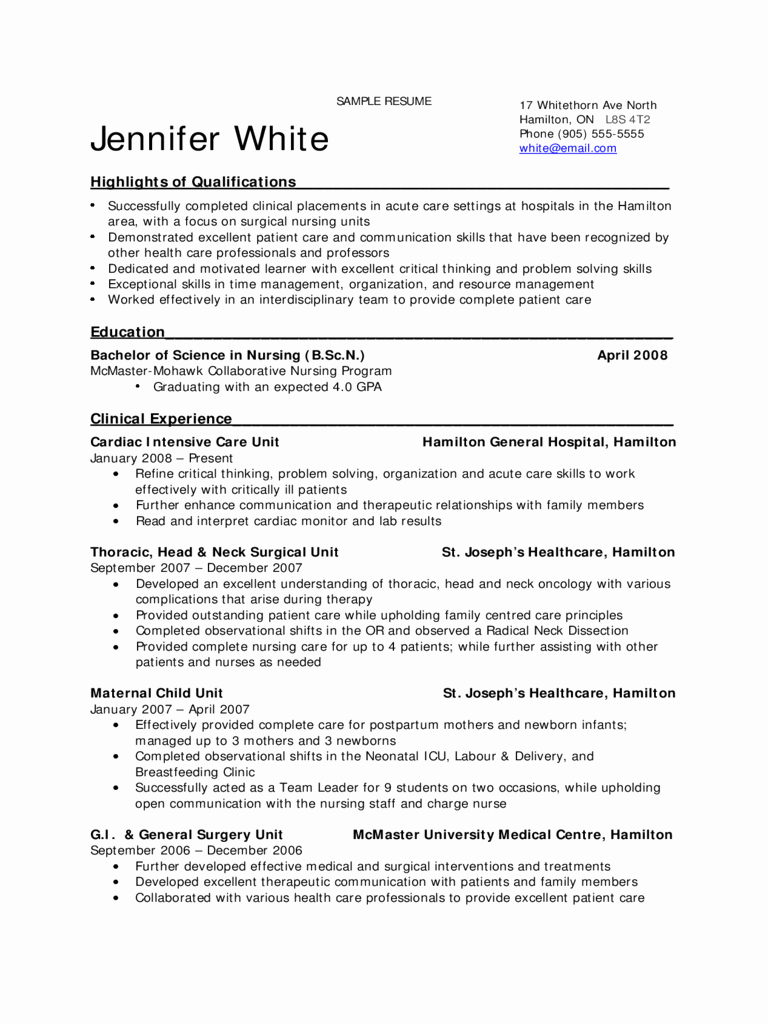 Nursing Student Resume Examples Awesome Sample Resume Undergraduate Nursing Student