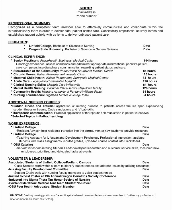 Nursing Student Resume Examples Beautiful Nursing Student Resume Example 10 Free Word Pdf