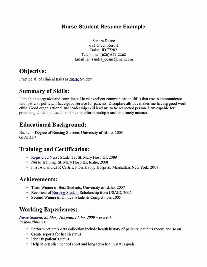 Nursing Student Resume Examples Best Of Nursing Student Resume Must Contains Relevant Skills