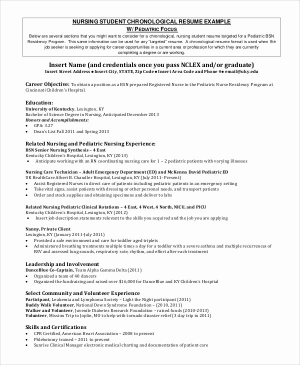 Nursing Student Resume Examples Best Of Sample Nursing Student Resume 8 Examples In Word Pdf