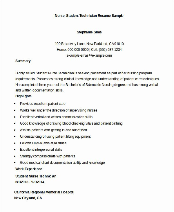 Nursing Student Resume Examples Elegant Nursing Student Resume Example 10 Free Word Pdf Documents Download
