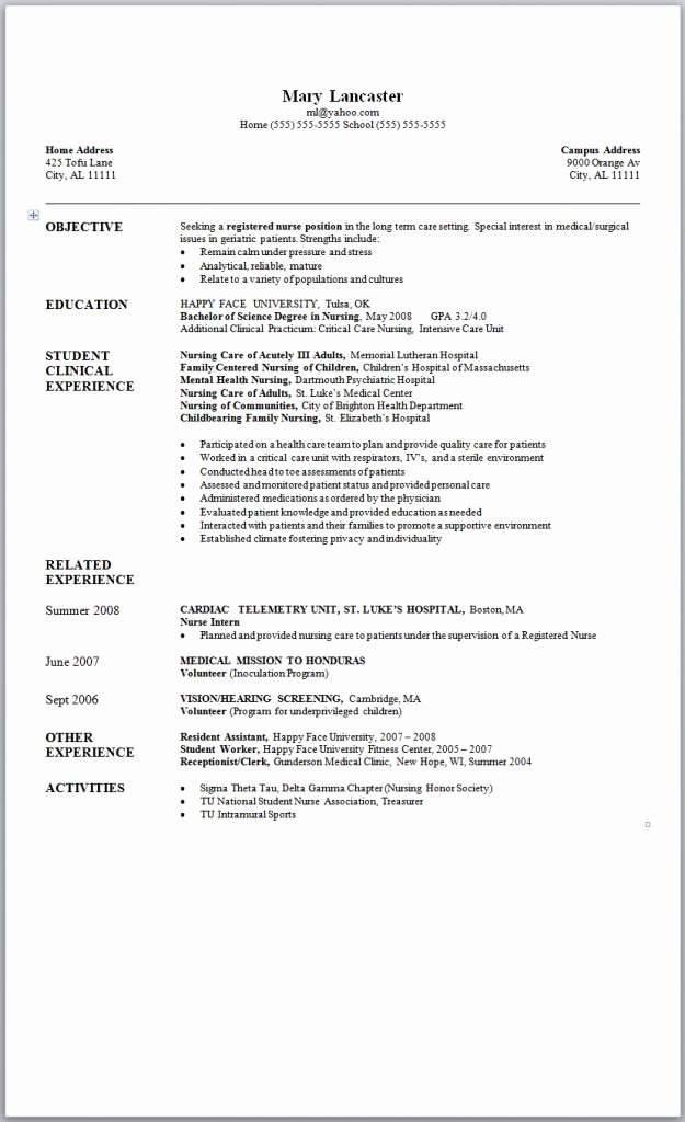 Nursing Student Resume Examples Fresh Sample Nursing Resume New Graduate Nurse Nursing and Job Stuff Pinterest