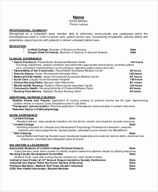 Nursing Student Resume Examples Luxury Sample Student Nurse Resume 8 Examples In Word Pdf