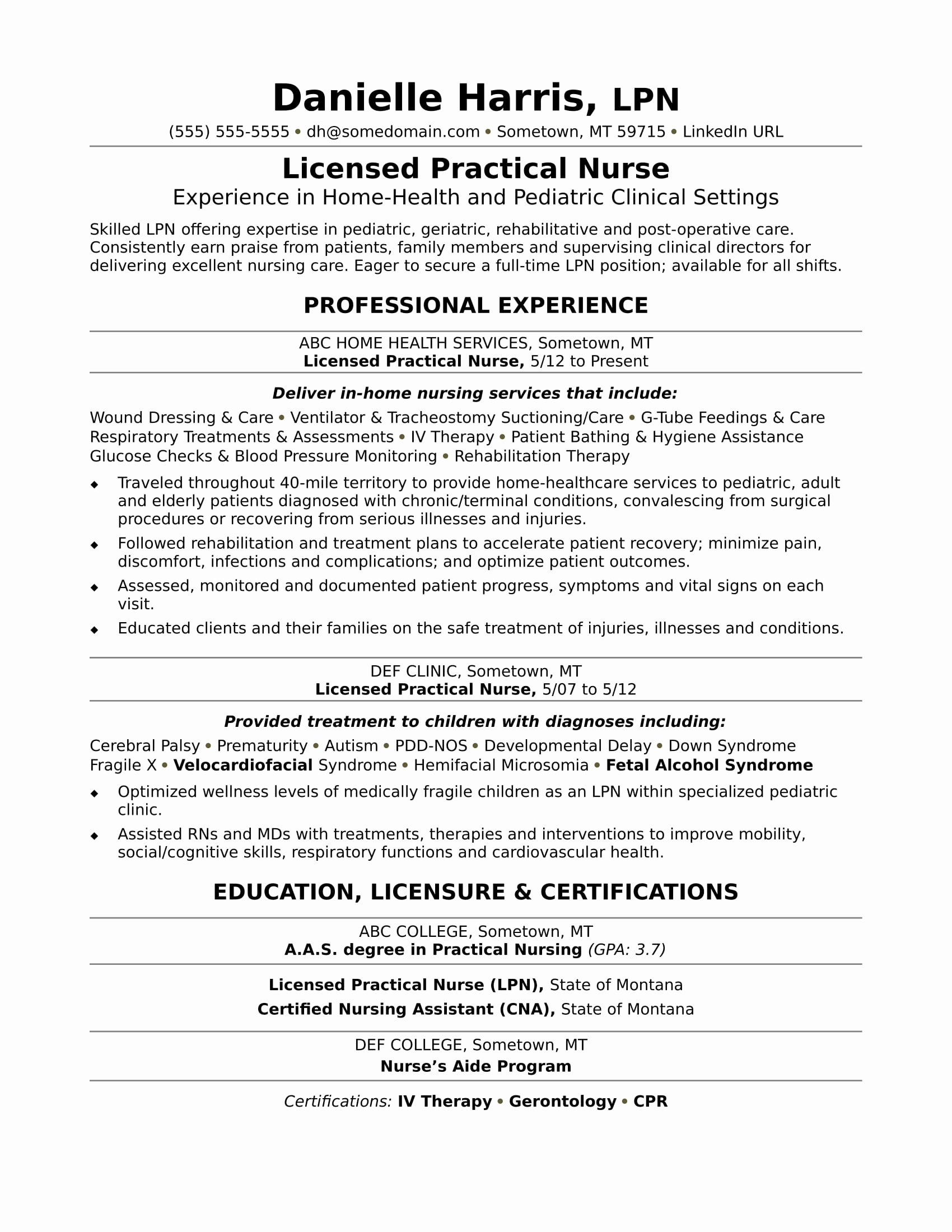 Nursing Student Resume Template Awesome Licensed Practical Nurse Resume Sample