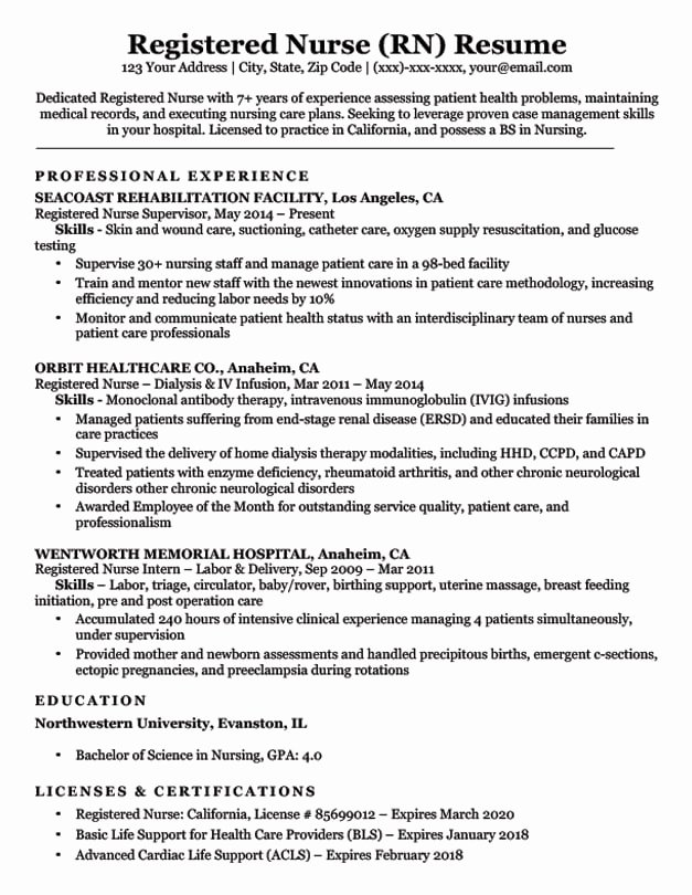 Nursing Student Resume Template Lovely Registered Nurse Rn Resume Sample & Tips