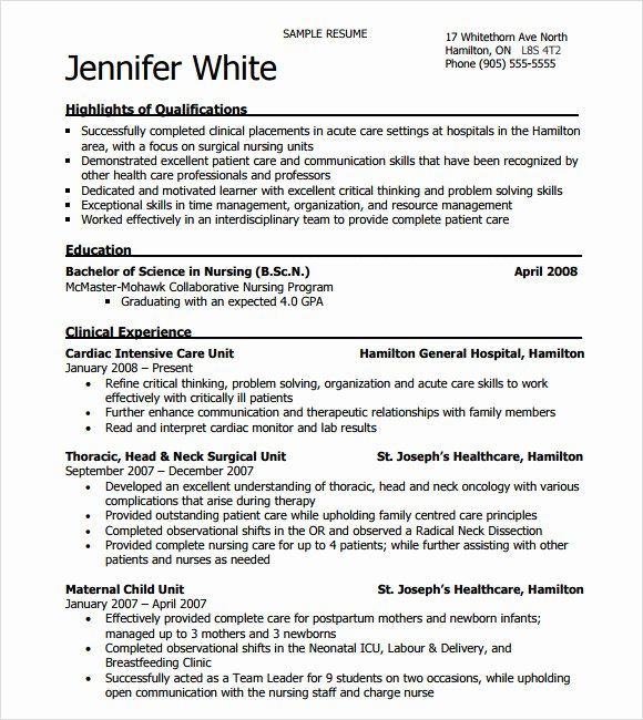 Nursing Student Resume Template Word Awesome Free 8 Sample Nursing Resumes In Pdf Word