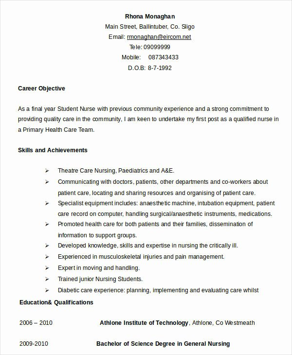 Nursing Student Resume Template Word Elegant Resume In Word Template 24 Free Word Pdf Documents
