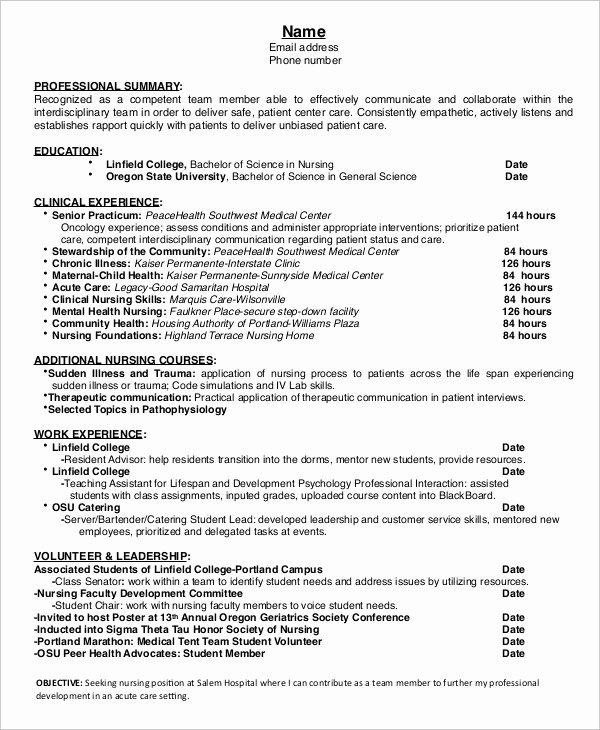 Nursing Student Resume Templates Inspirational 15 Nurse Resume Templates Pdf Doc