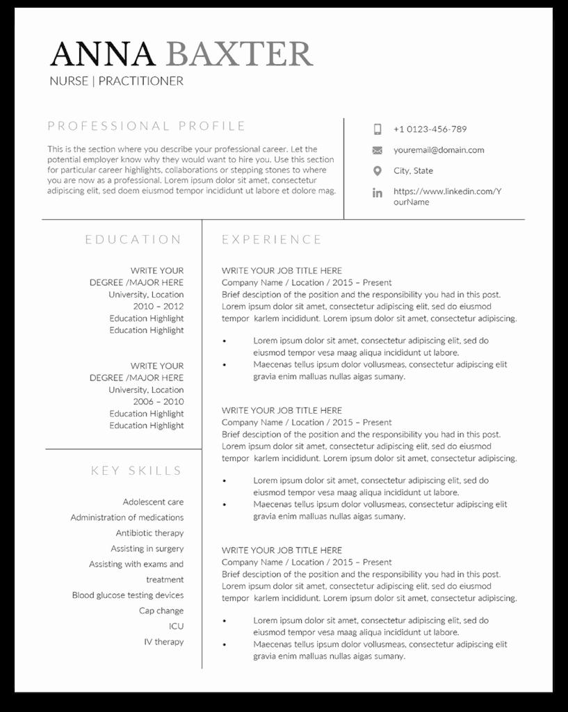 Nursing Student Resume Templates Unique Family Nurse Practitioner Resume Template