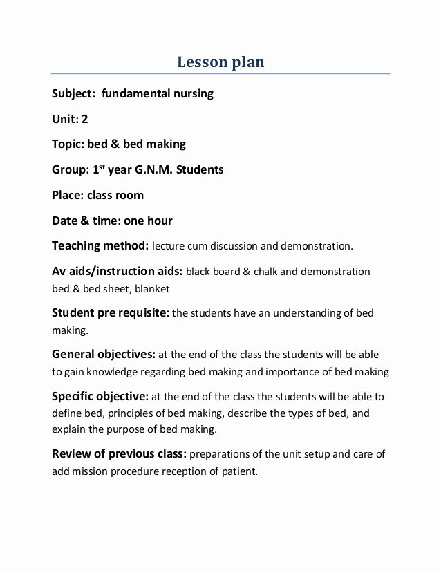Nursing Teaching Plan Template Unique Lesson Plan