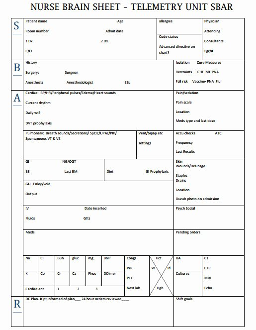 Nursing Time Management Sheet Fresh Nurse Brain Sheets Telemetry Unit Sbar