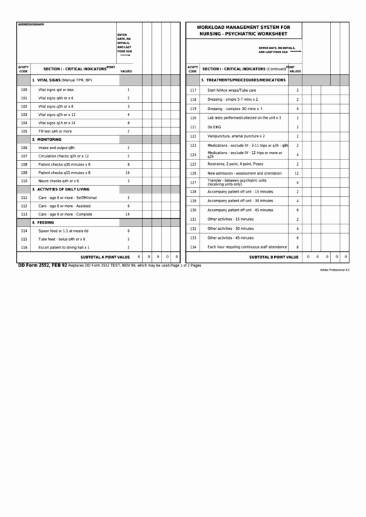 Nursing Time Management Sheet New Fillable Dd form 2552 Workload Management System for
