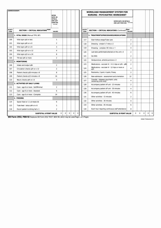 Nursing Time Management Sheet New Fillable Dd form 2552 Workload Management System for