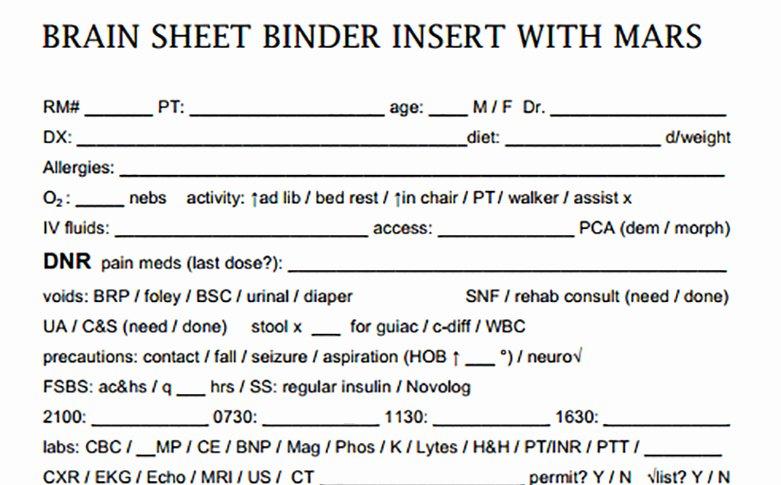 Nursing Time Management Sheet Unique Nurse Brain Sheets Binder Insert with Mars