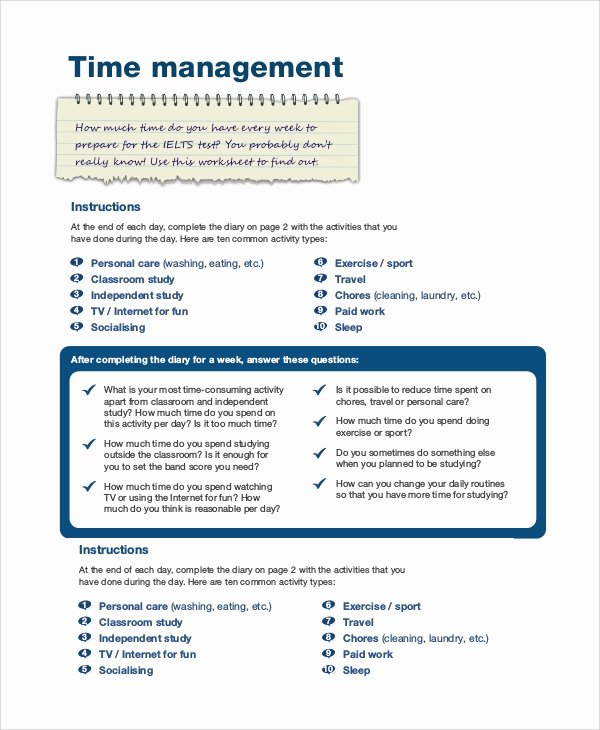 Nursing Time Management Sheets Inspirational Sample Time Management 7 Documents In Word Pdf