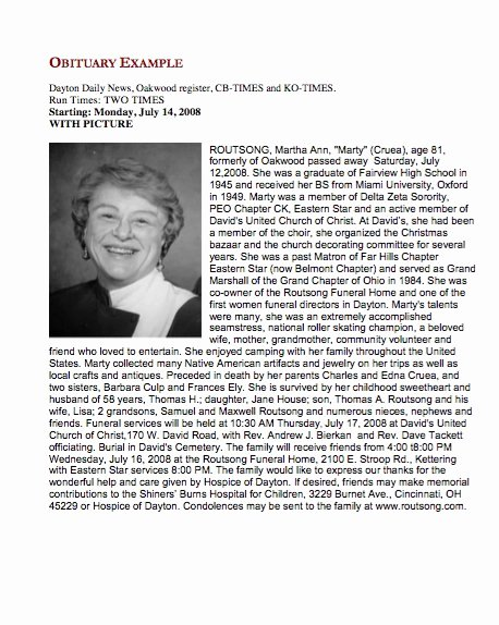 Obituary Sample for Mother Awesome 25 Obituary Templates and Samples Template Lab